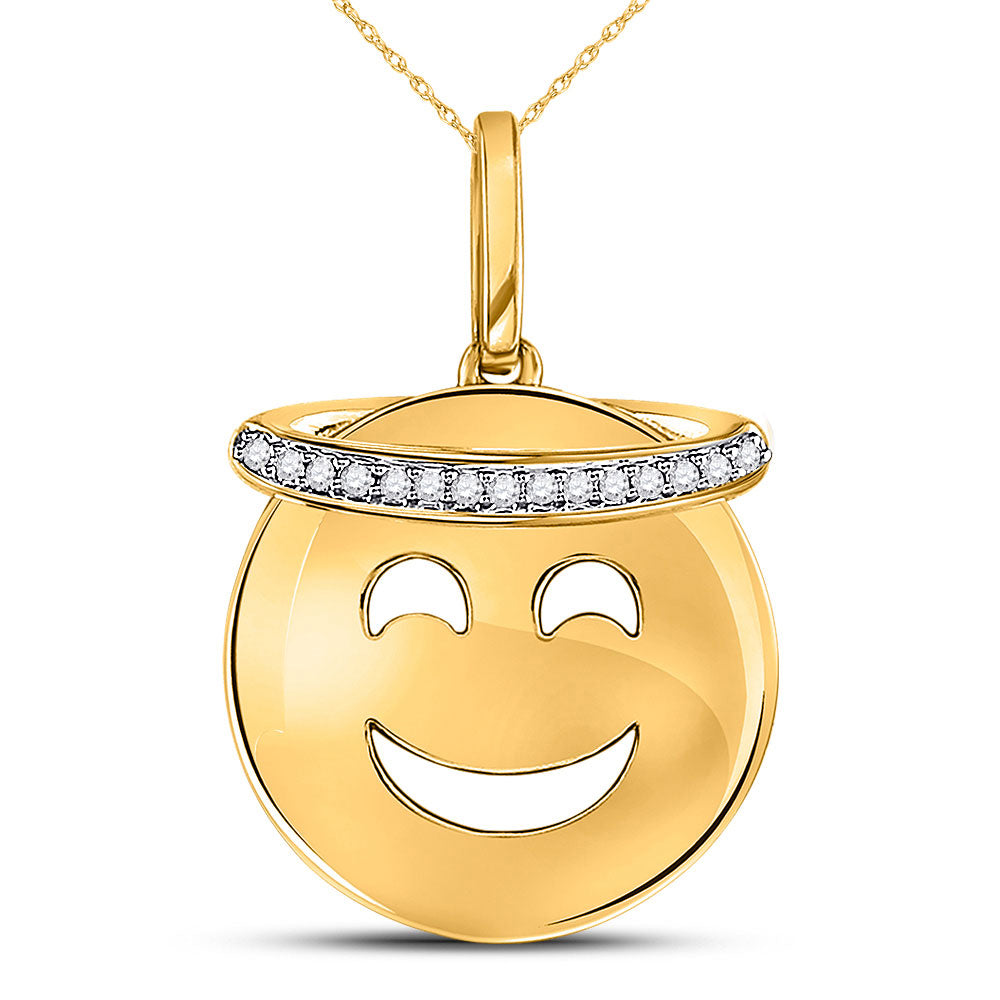 10kt Yellow Gold Womens Round Diamond Smiley Face Halo Emoji Pendant 1/20 Cttw