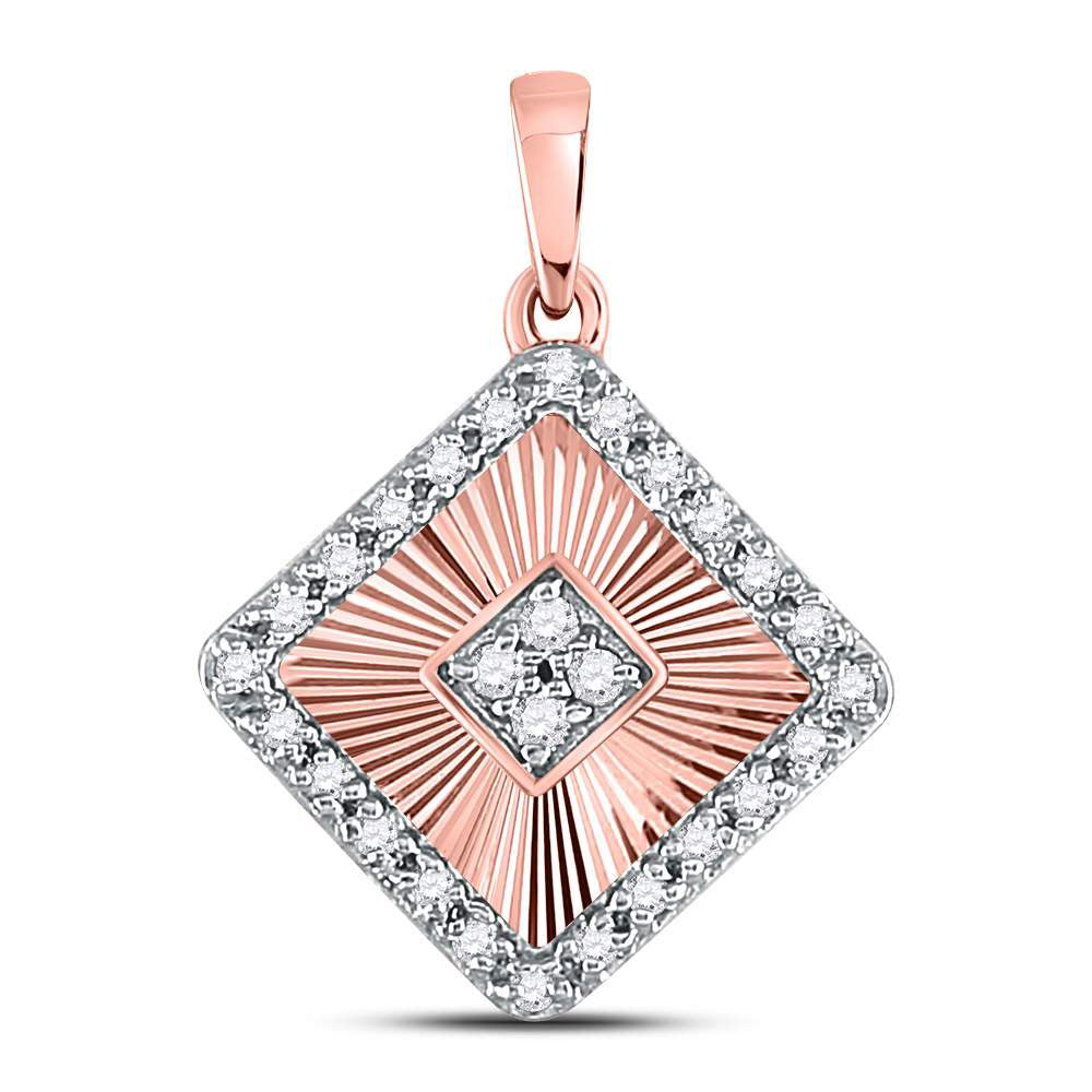 10kt Rose Gold Womens Round Diamond Diagonal Square Pendant 1/6 Cttw