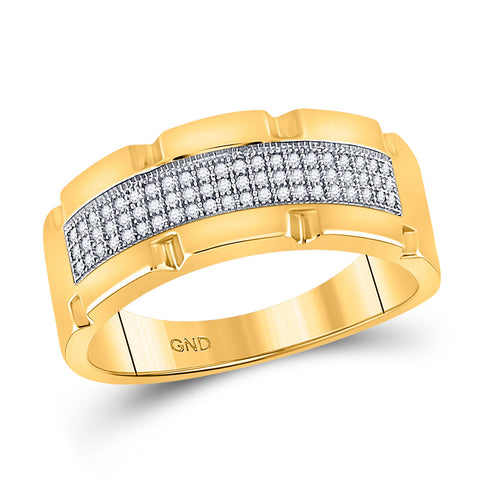 10kt Yellow Gold Mens Round Diamond Band Ring 1/5 Cttw