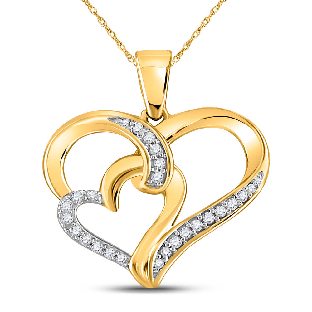 10kt Yellow Gold Womens Round Diamond Double Heart Pendant 1/10 Cttw