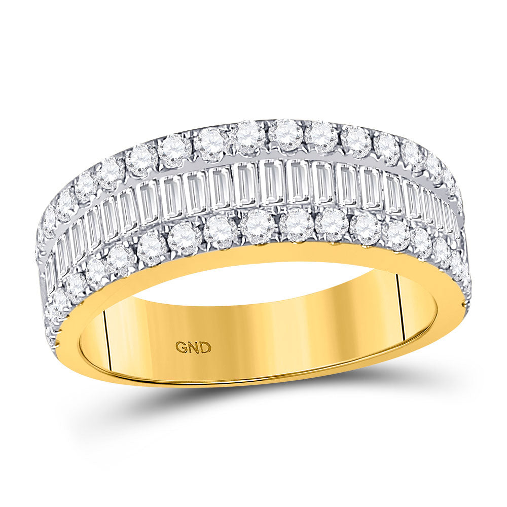 14kt Yellow Gold Womens Baguette Diamond Fashion Anniversary Ring 1-1/2 Cttw