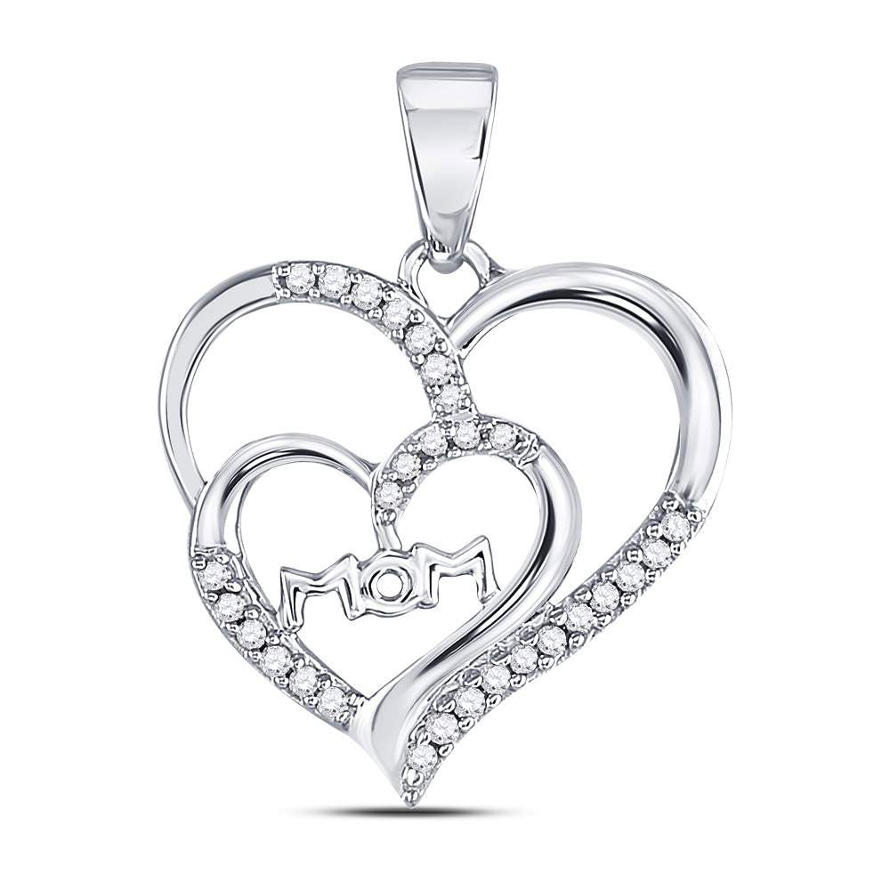 10kt White Gold Womens Round Diamond Mom Mother Double Heart Pendant 1/8 Cttw