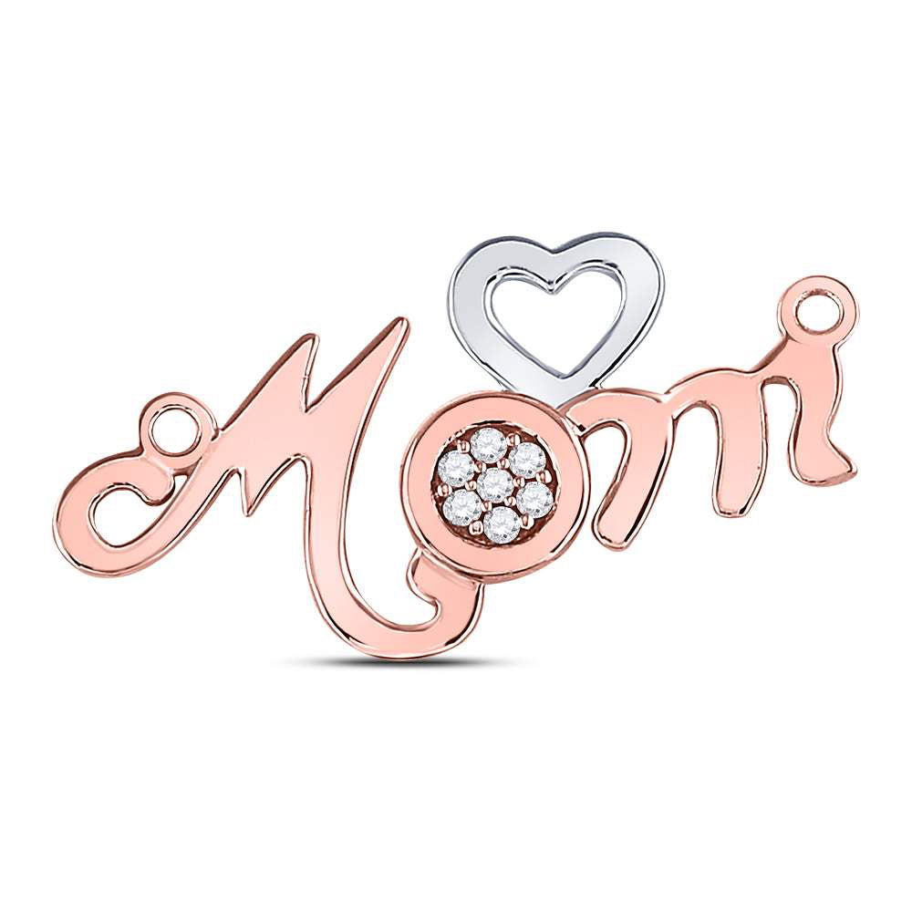 10kt Rose Gold Womens Round Diamond Mom Mother Heart Pendant 1/20 Cttw