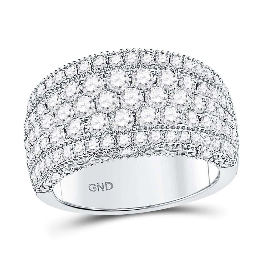 14kt White Gold Womens Round Diamond Pave Groove Band Ring 2 Cttw