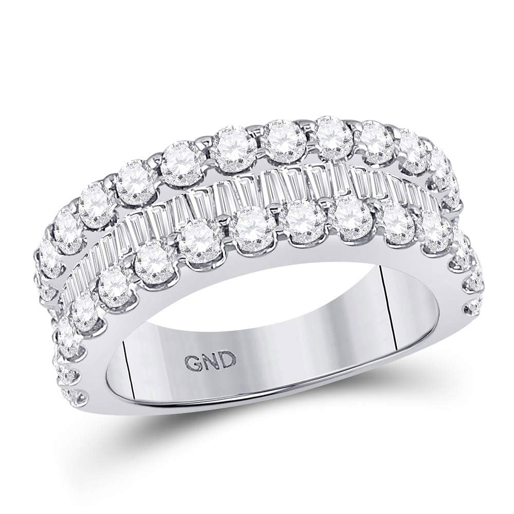 14kt White Gold Womens Round Diamond Anniversary Band Ring 2-5/8 Cttw