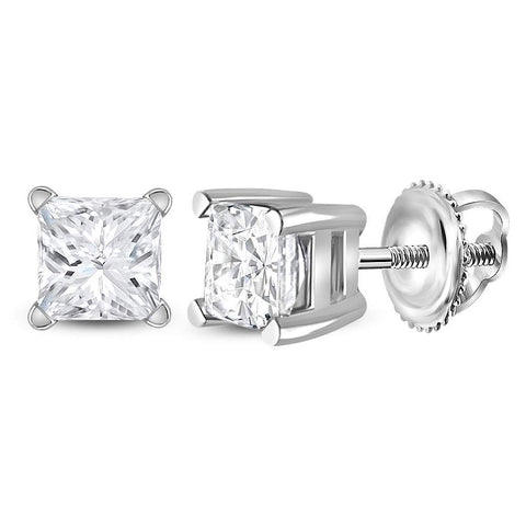 14kt White Gold Womens Princess Diamond Solitaire Earrings 3/4 Cttw