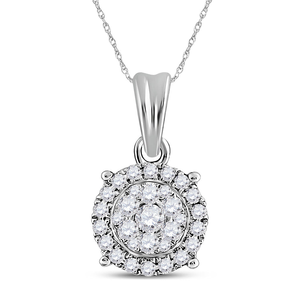 14kt White Gold Womens Round Diamond Halo Cluster Pendant 1/4 Cttw