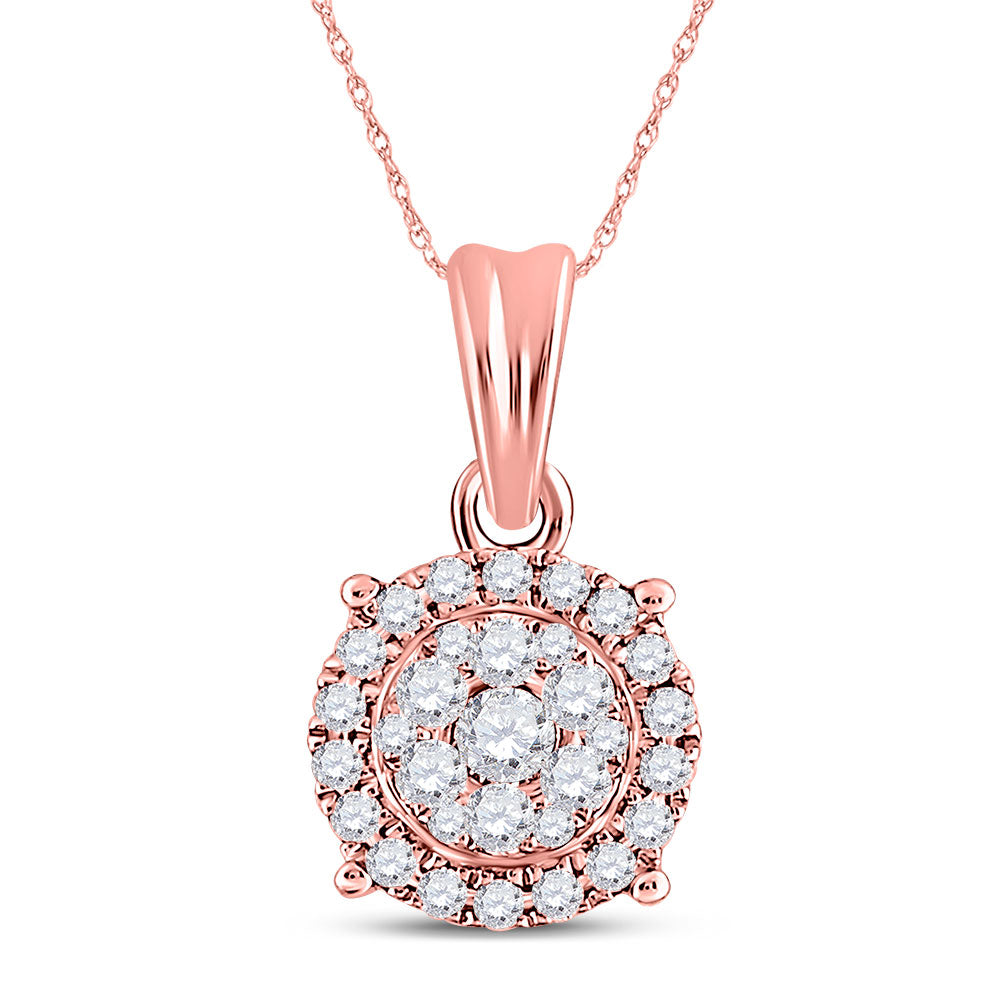 14kt Rose Gold Womens Round Diamond Halo Cluster Pendant 1/4 Cttw