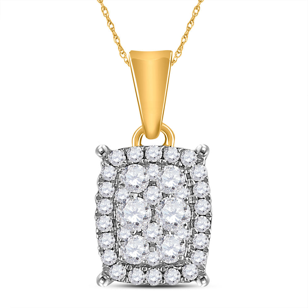 14kt Yellow Gold Womens Round Diamond Rectangle Cluster Pendant 1/4 Cttw