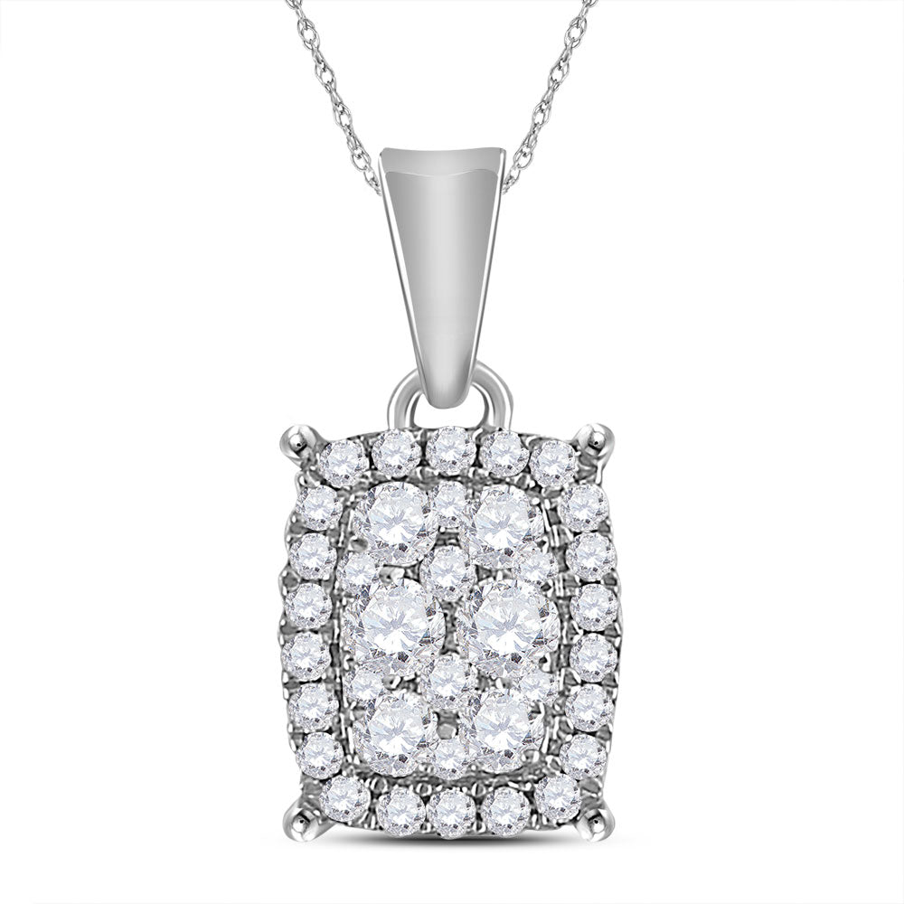 14kt White Gold Womens Round Diamond Rectangle Cluster Pendant 1/4 Cttw