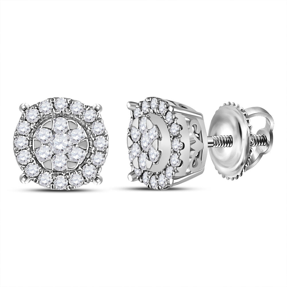 14kt White Gold Womens Round Diamond Circle Halo Cluster Earrings 1/4 Cttw
