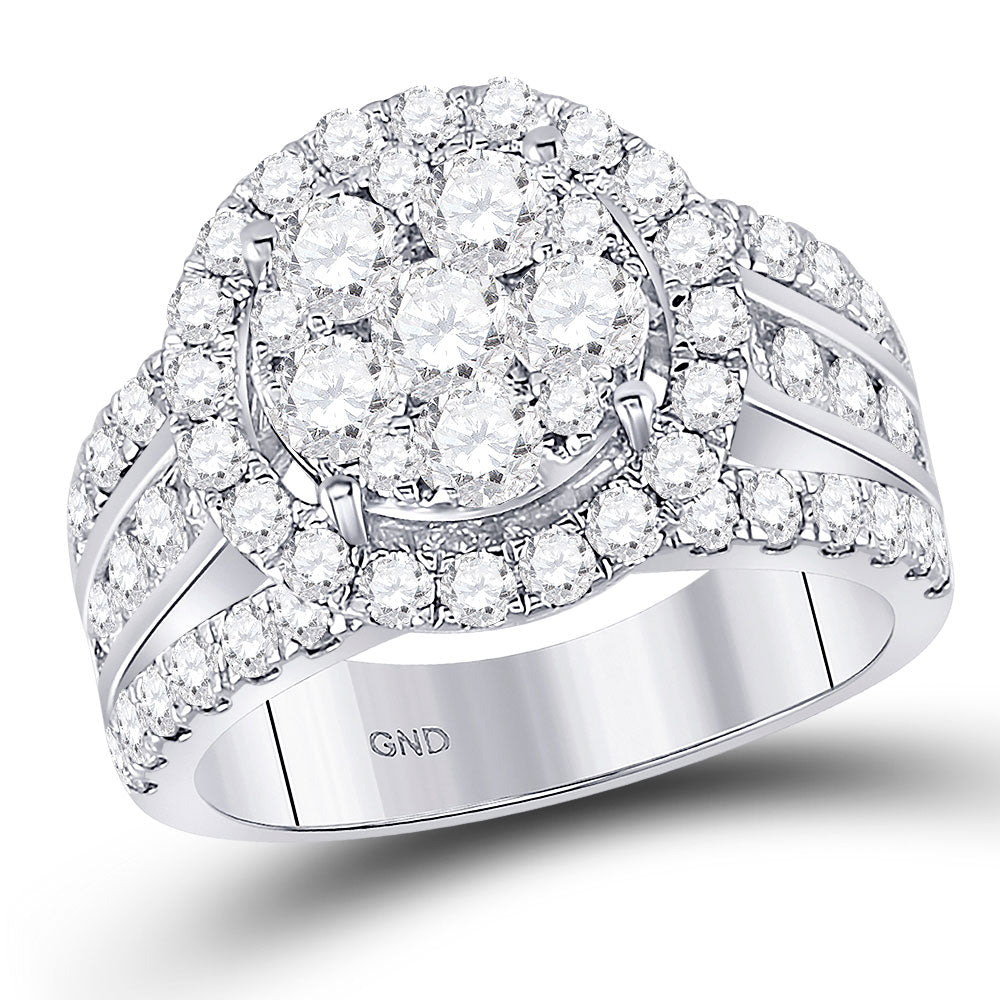 14kt White Gold Round Diamond Cluster Bridal Wedding Engagement Ring 2 Cttw