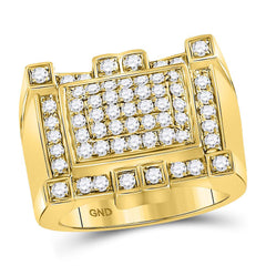 10kt Yellow Gold Mens Round Diamond Square Cluster Ring 1-1/2 Cttw