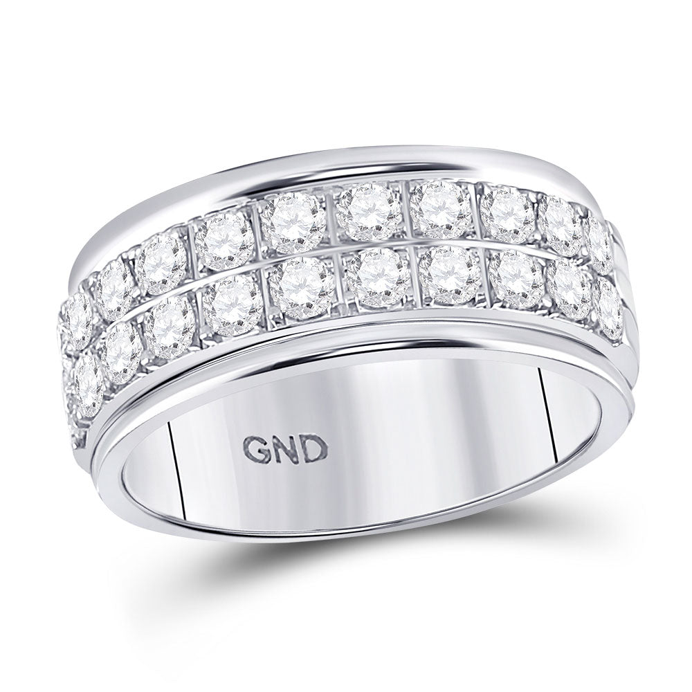 10kt White Gold Womens Round Diamond Double Row Band Ring 1 Cttw