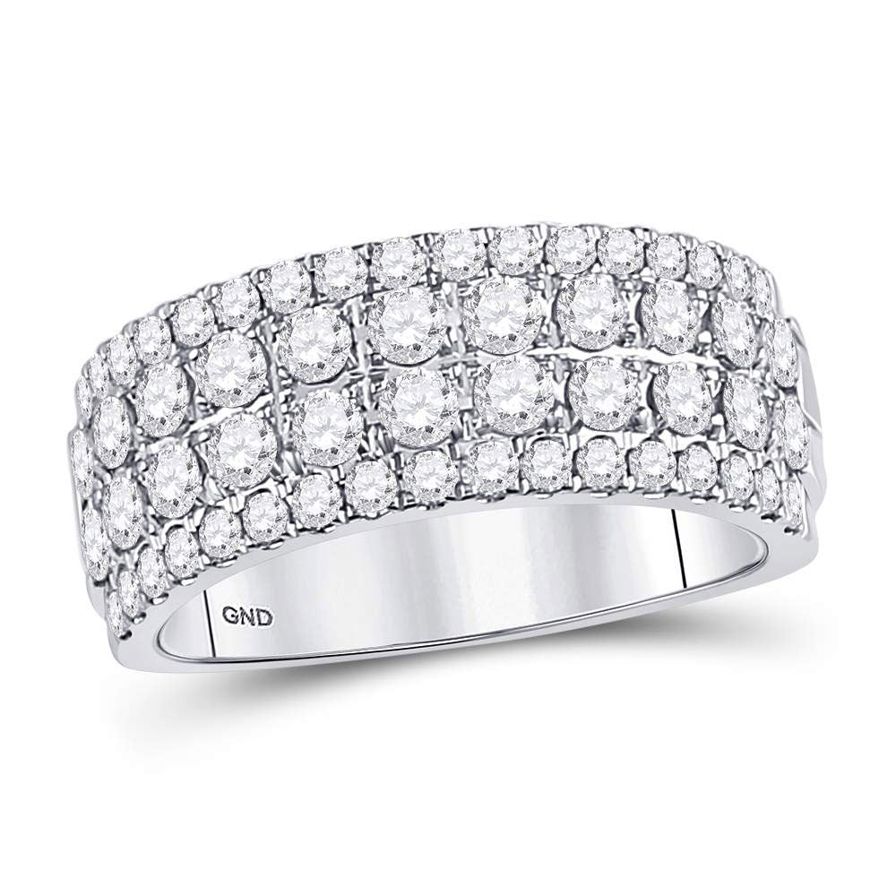 10kt White Gold Womens Round Diamond Four Row Machine Set Band Ring 1-1/2 Cttw