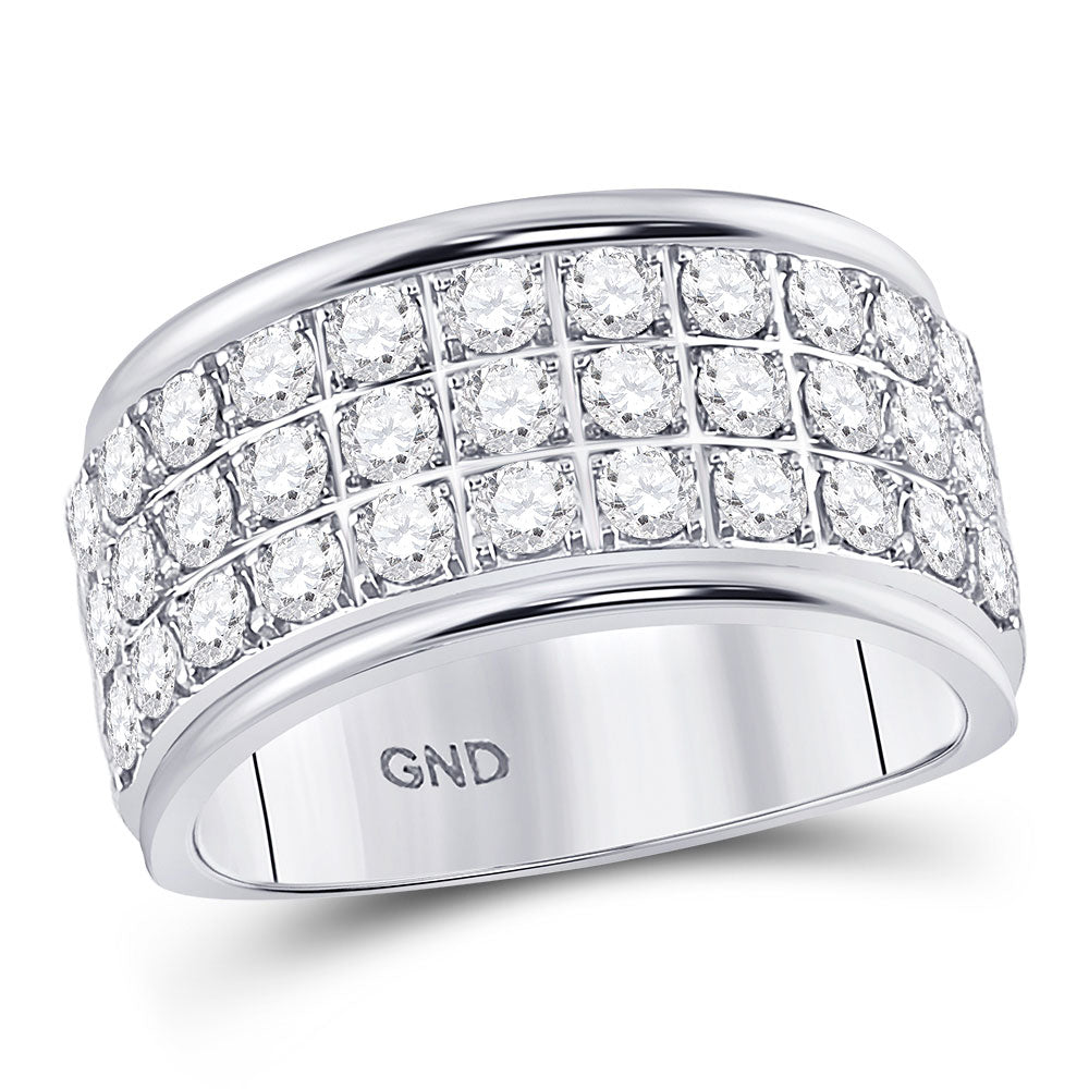 10kt White Gold Womens Round Diamond Triple Row Band Ring 1-1/2 Cttw