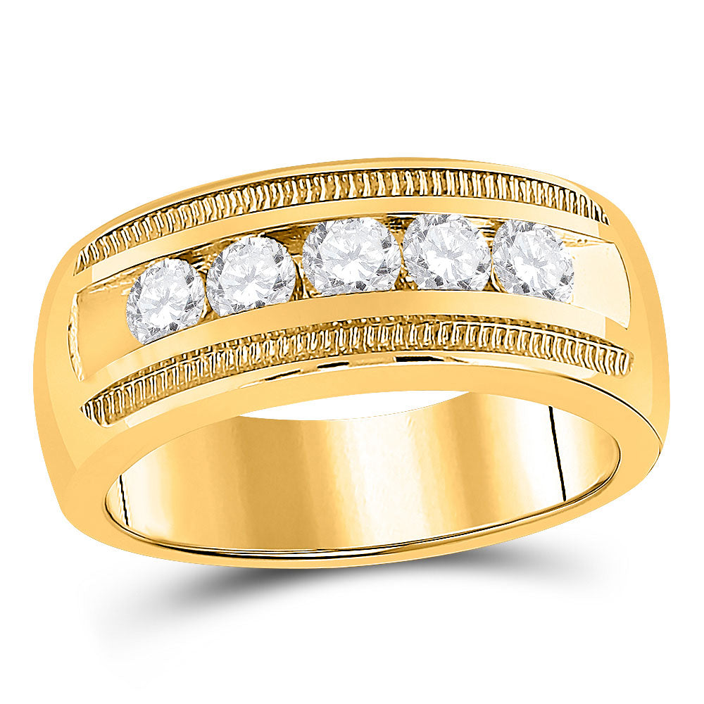 14kt Yellow Gold Mens Round Diamond Single Row Textured Wedding Band Ring 1 Cttw