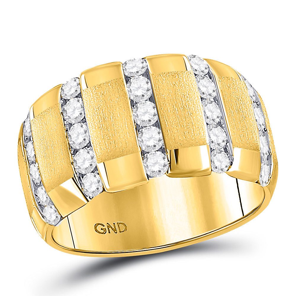 14kt Yellow Gold Mens Brushed Round Diamond Wedding Vertical Channel Band Ring 1-1/2 Cttw