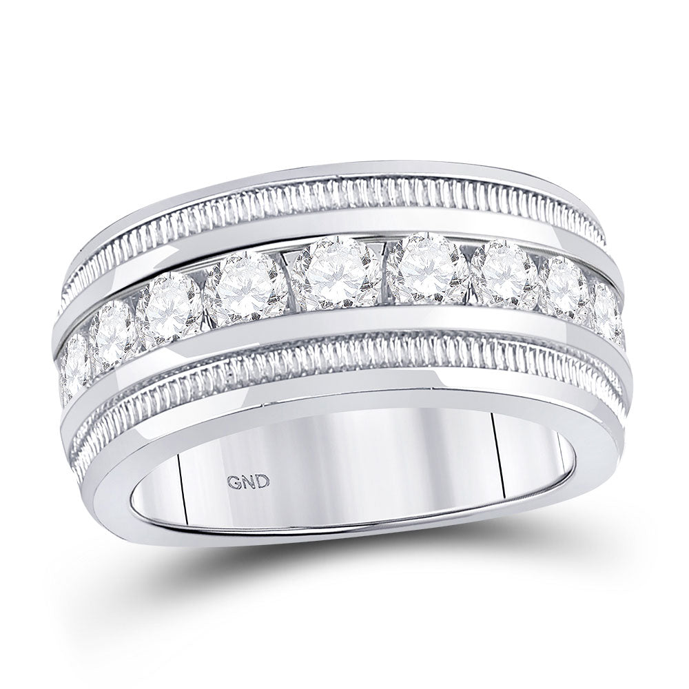 14kt White Gold Mens Round Diamond Single Row Fluted Wedding Band Ring 2 Cttw