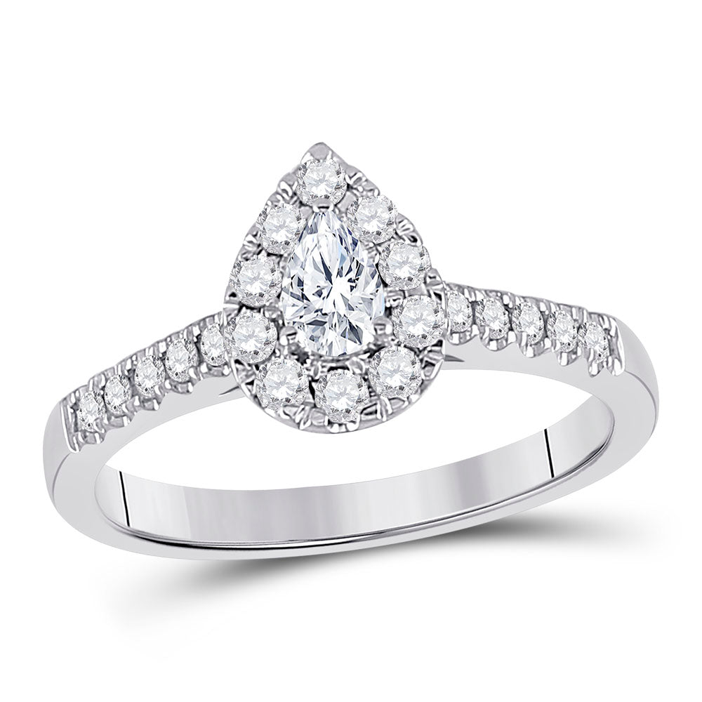 14kt White Gold Pear Diamond Solitaire Bridal Wedding Engagement Ring 1/2 Cttw