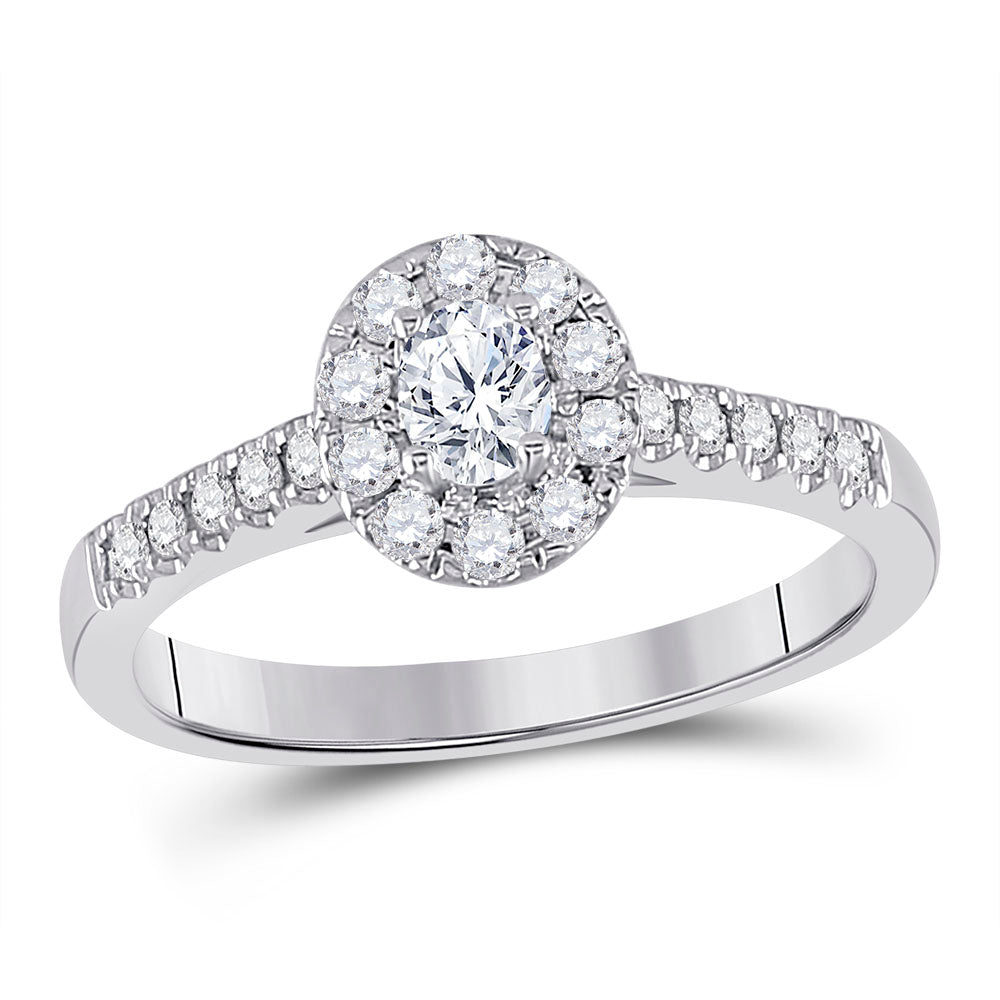 14kt White Gold Oval Diamond Solitaire Bridal Wedding Engagement Ring 1/5 Cttw