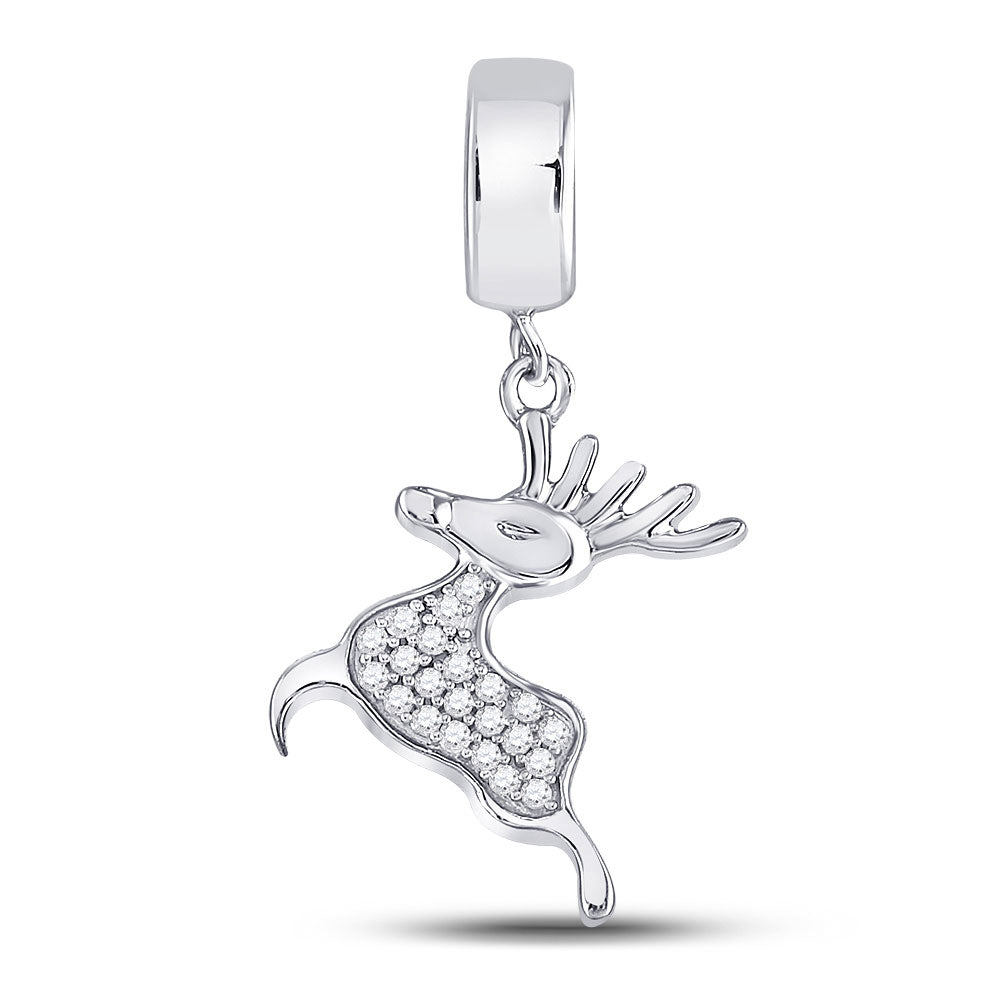 Sterling Silver Womens Round Diamond Rudolph Reindeer Animal Pendant 1/6 Cttw