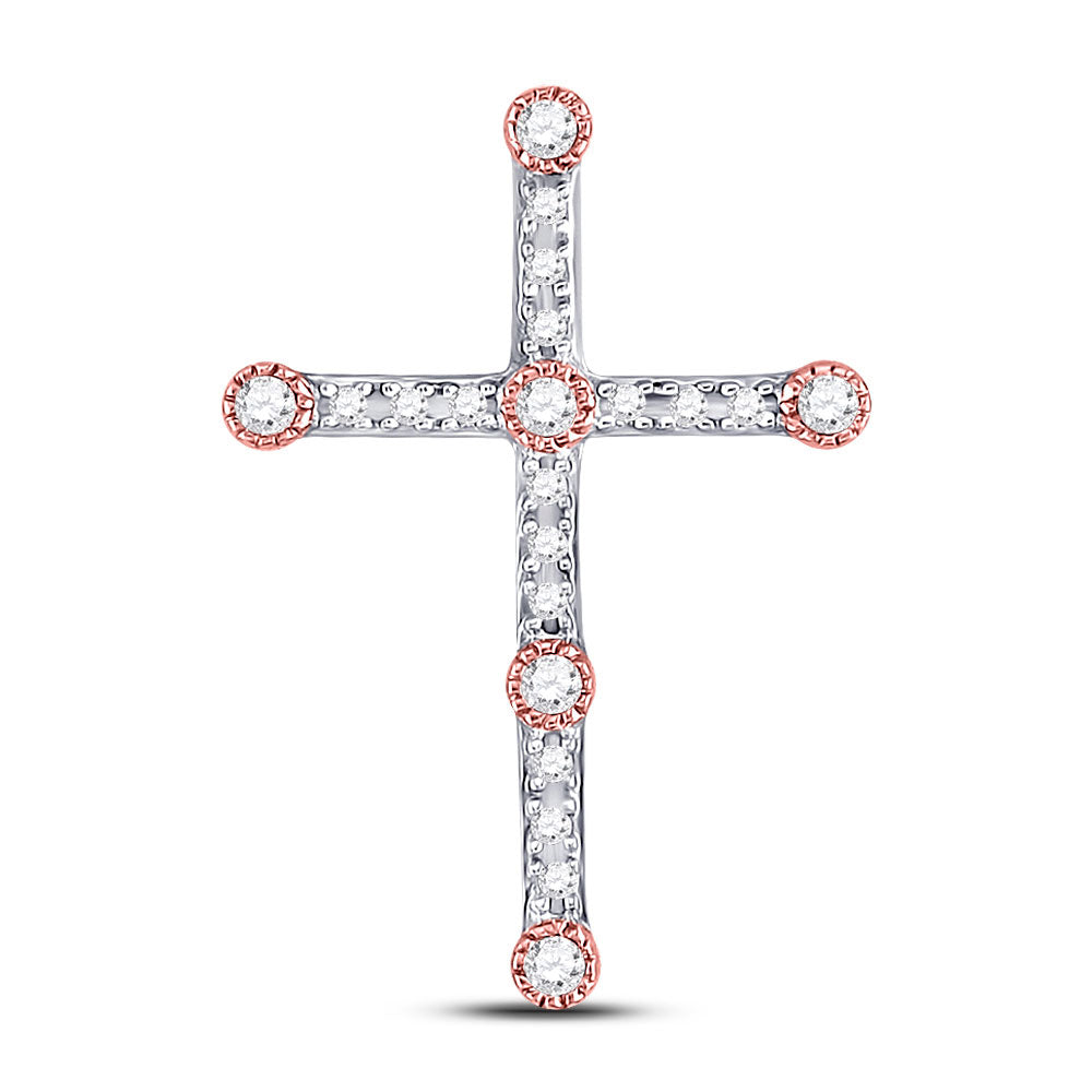 10kt Two-tone Gold Womens Round Diamond Cross Pendant 1/4 Cttw