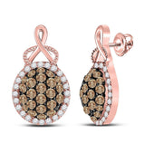 14kt Rose Gold Womens Round Brown Diamond Cluster Earrings 1 Cttw