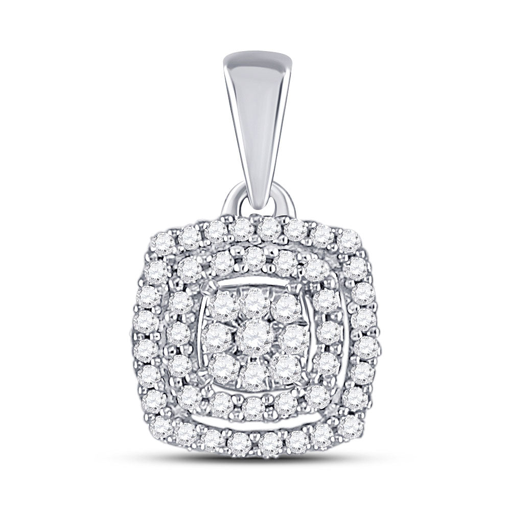 10kt White Gold Womens Round Diamond Square Frame Cluster Pendant 1/8 Cttw