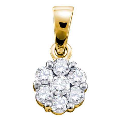 14kt Yellow Gold Womens Round Diamond Flower Cluster Pendant 1 Cttw