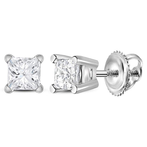 14kt White Gold Unisex Princess Diamond Solitaire Stud Earrings 3/8 Cttw