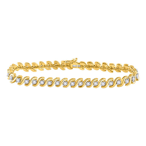 10kt Yellow Gold Womens Round Diamond S-Link Tennis Bracelet 1/2 Cttw