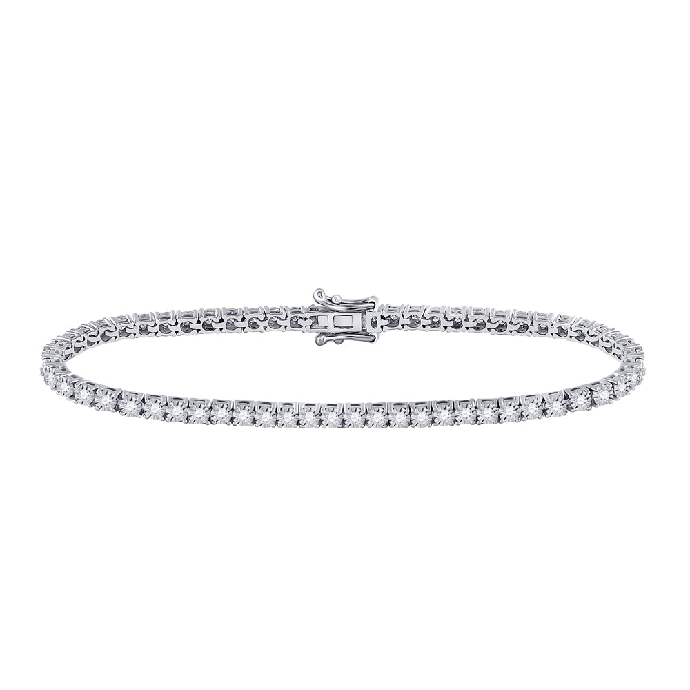 10kt White Gold Womens Round Diamond Classic Tennis Bracelet 1 Cttw