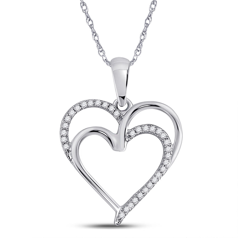 Sterling Silver Womens Round Diamond Double Heart Pendant 1/10 Cttw