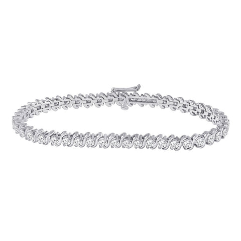 14kt White Gold Womens Round Diamond Classic Tennis Bracelet 4 Cttw