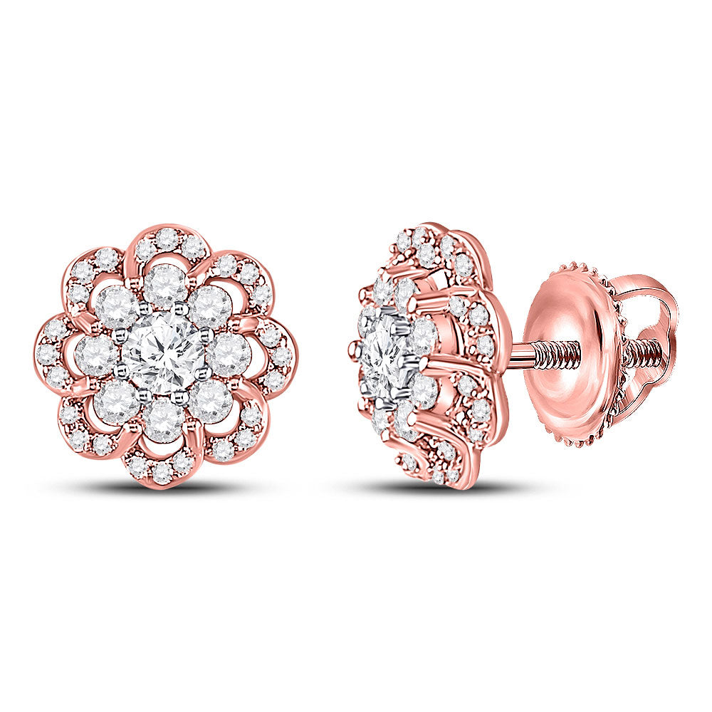 10kt Two-tone Gold Womens Round Diamond Halo Earrings 1/2 Cttw