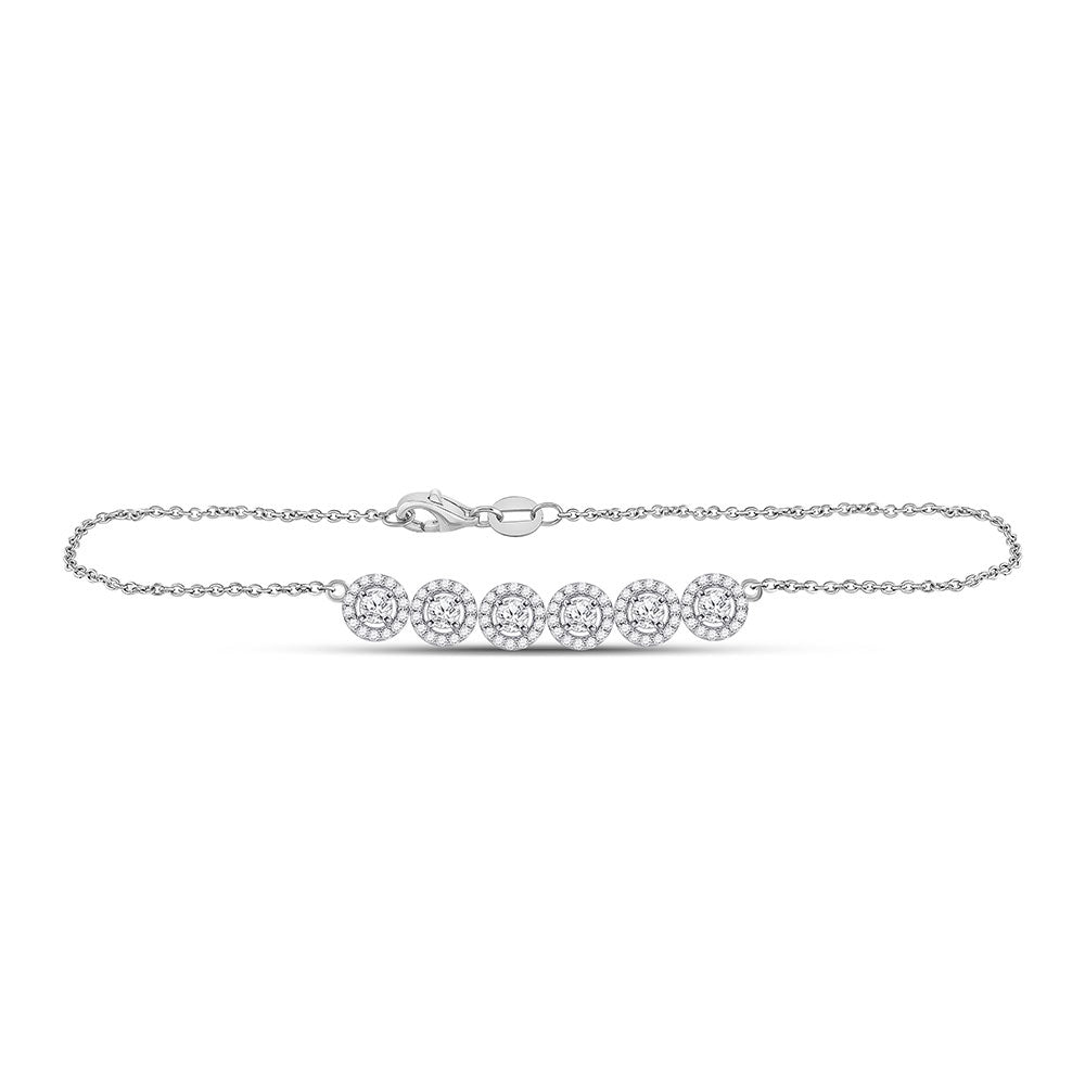 14kt White Gold Womens Round Diamond Circle Cluster Chain Halo Bracelet 1 Cttw