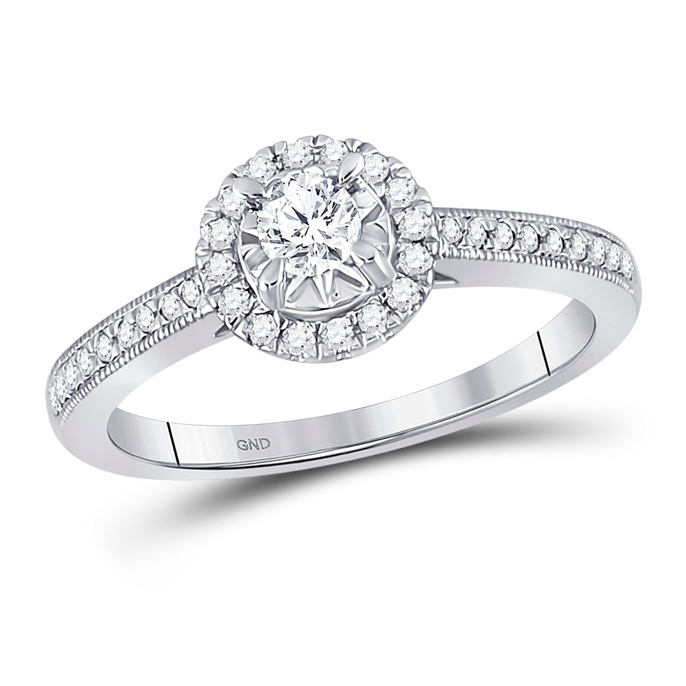14kt White Gold Round Diamond Solitaire Bridal Wedding Engagement Ring 3/8 Cttw