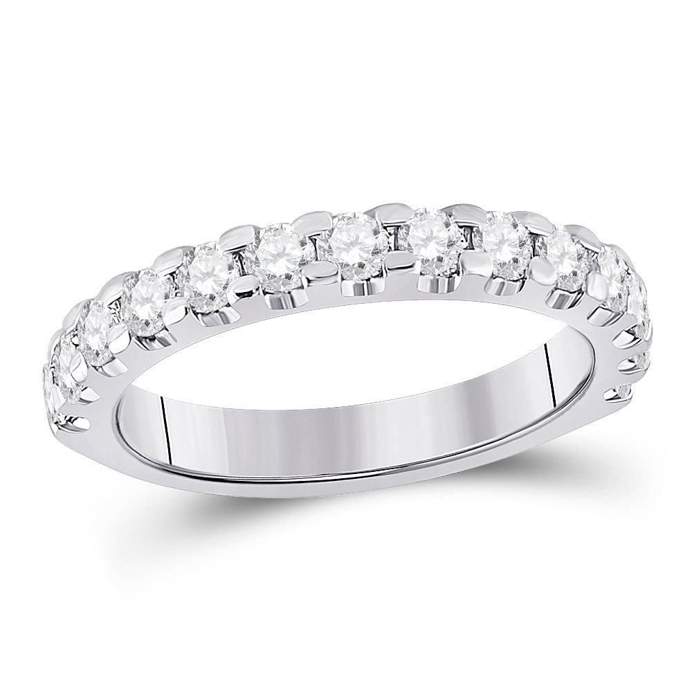 14kt White Gold Womens Round Diamond Single Row Anniversary Ring 1 Cttw