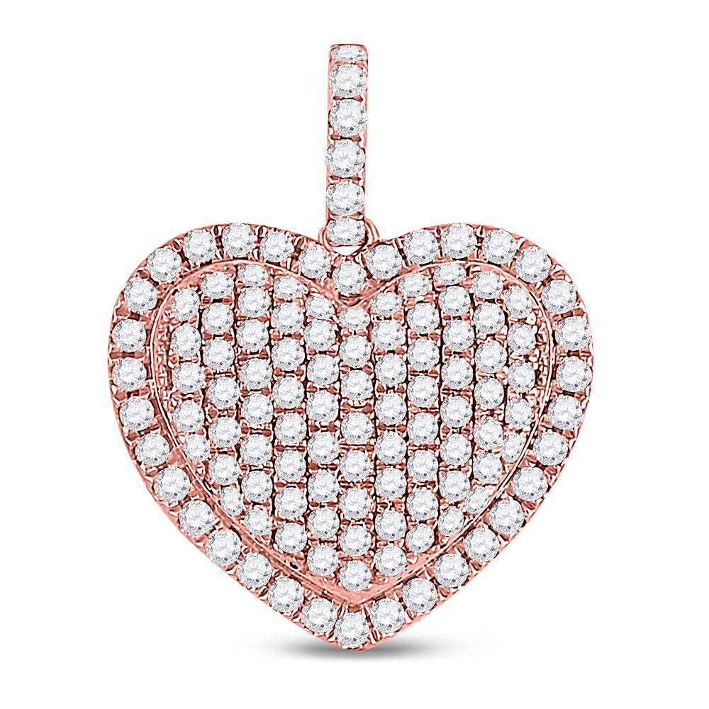 14kt Rose Gold Womens Round Diamond Fashion Heart Pendant 1-1/4 Cttw