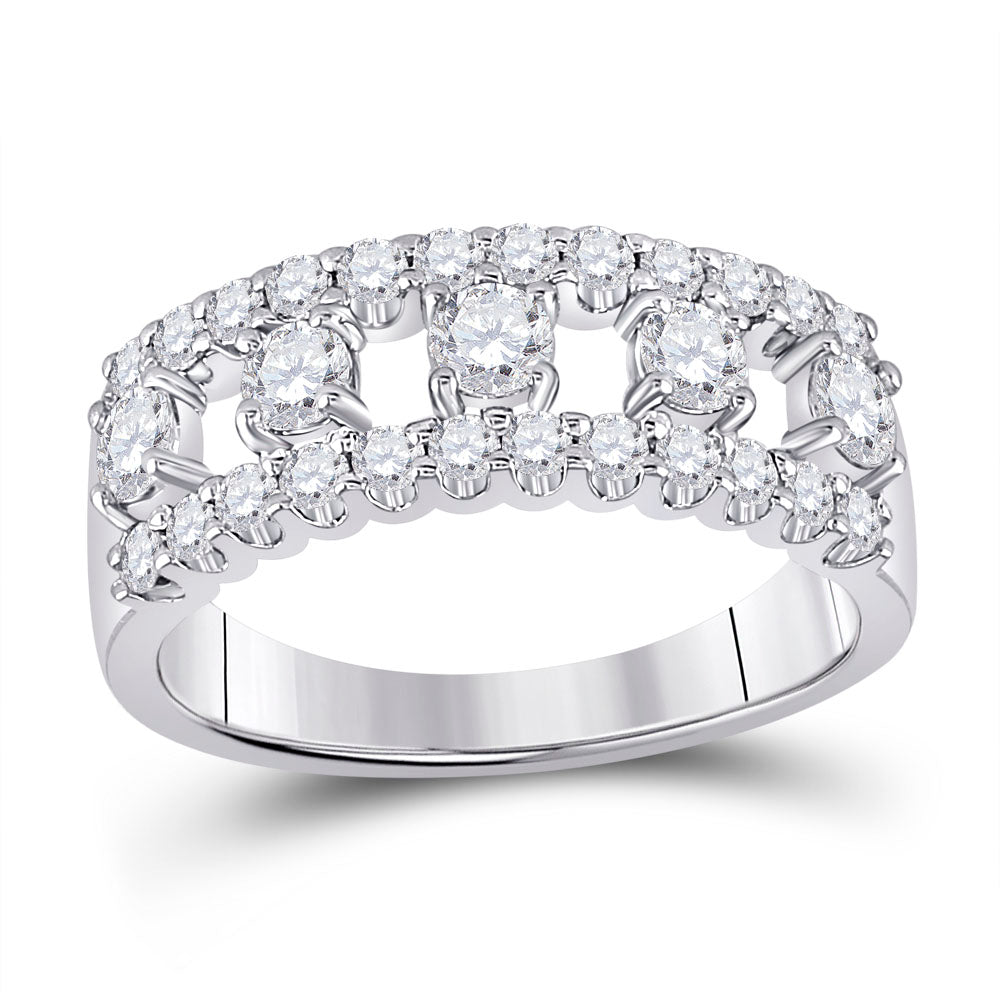 14kt White Gold Womens Round Diamond Right Hand Three-Row Band Ring 1 Cttw