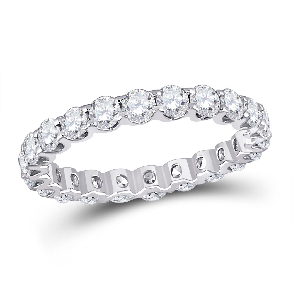 14kt White Gold Womens Round Diamond Timeless Eternity Ring 2 Cttw