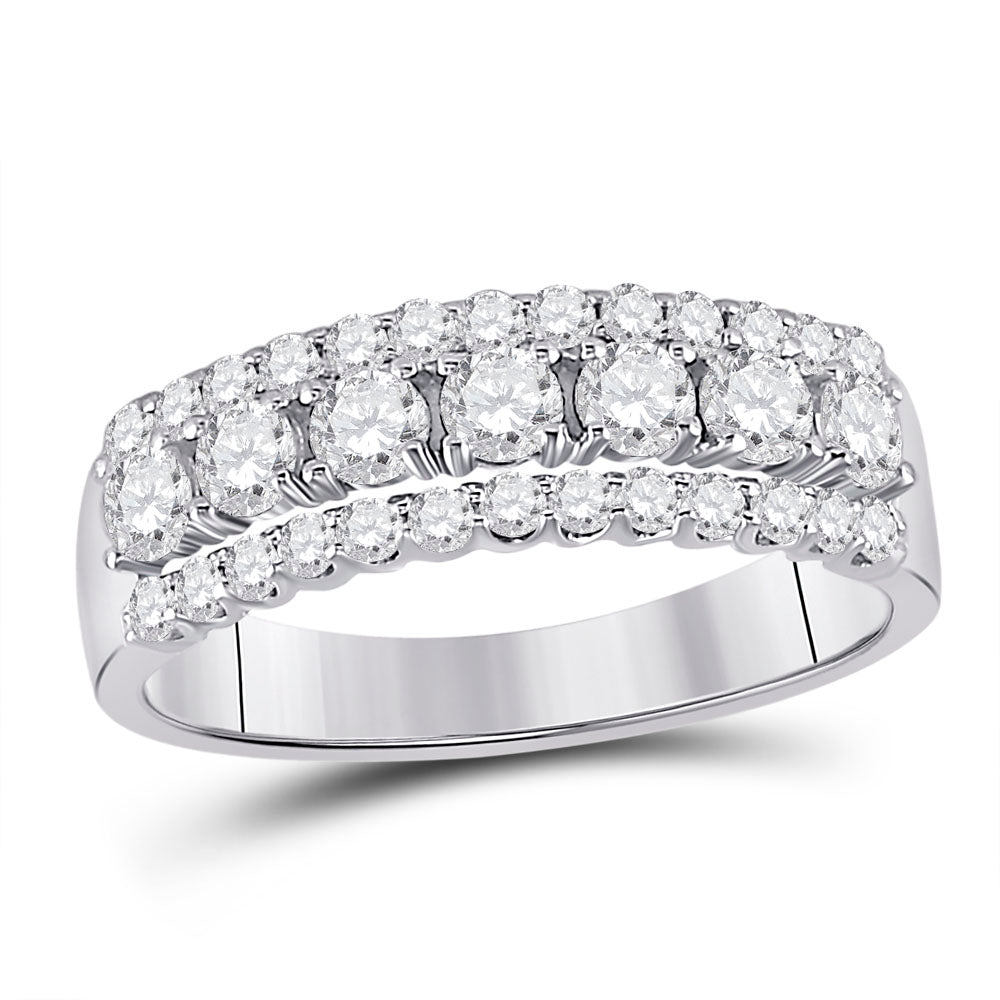 14kt White Gold Womens Round Diamond Classic Anniversary Band Ring 1 Cttw