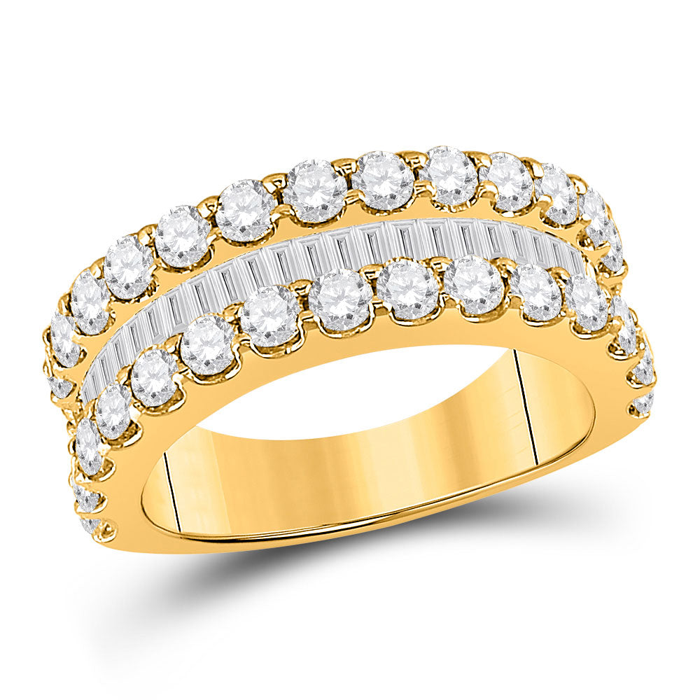 14kt Yellow Gold Womens Baguette Diamond Anniversary Ring 2-5/8 Cttw