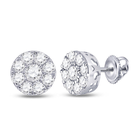 14kt White Gold Womens Round Diamond Flower Cluster Earrings 1-3/8 Cttw