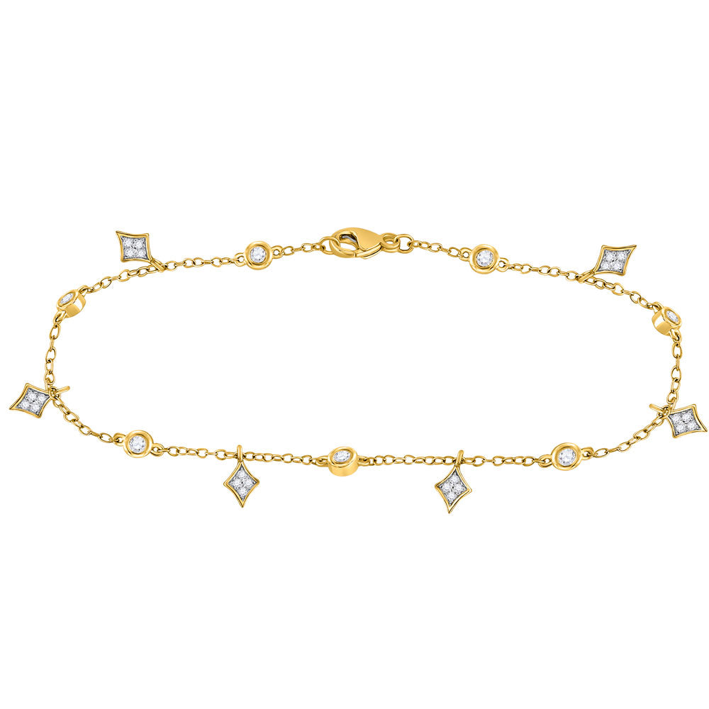 10kt Yellow Gold Womens Round Diamond Dangle Fashion Bracelet 1/3 Cttw