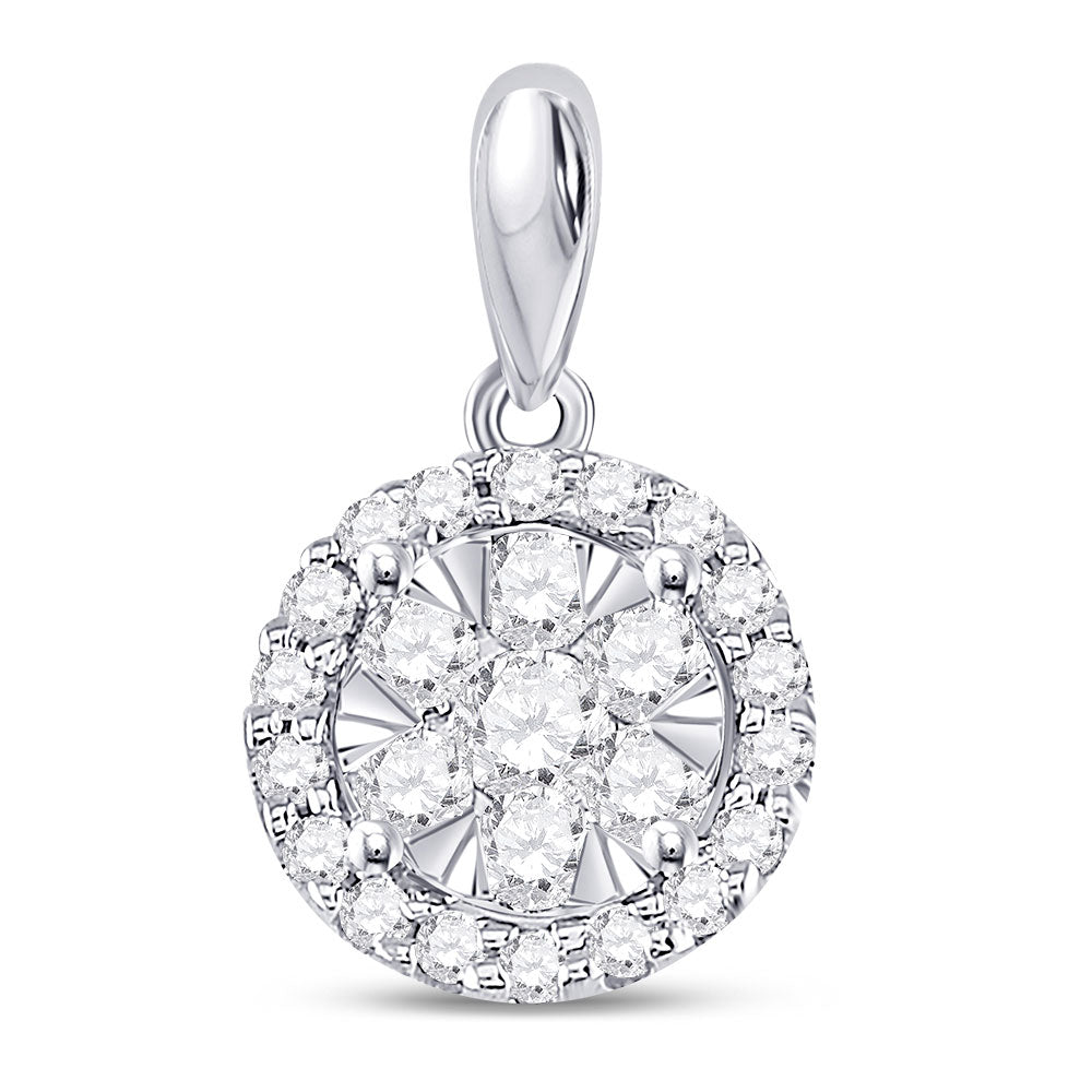 14kt White Gold Womens Round Diamond Halo Flower Cluster Pendant 1/2 Cttw