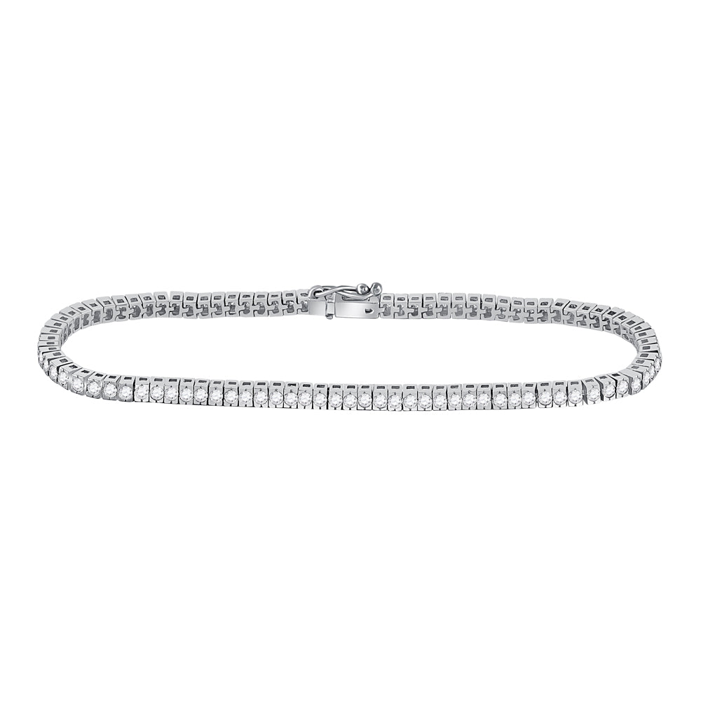 14kt White Gold Womens Round Diamond Timeless Tennis Bracelet 2 Cttw