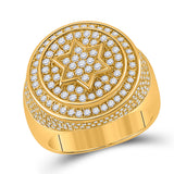 10kt Yellow Gold Mens Round Diamond Magen David Star Circle Ring 2 Cttw