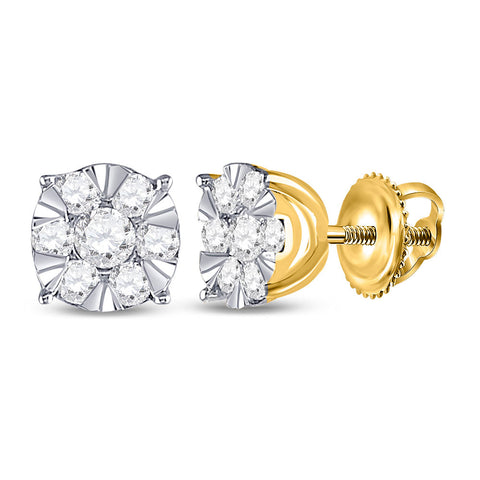 14kt Yellow Gold Womens Round Diamond Fashion Cluster Earrings 1/2 Cttw
